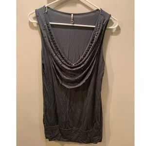 Bedazzled Cowl Neck Tank Top Size Medium